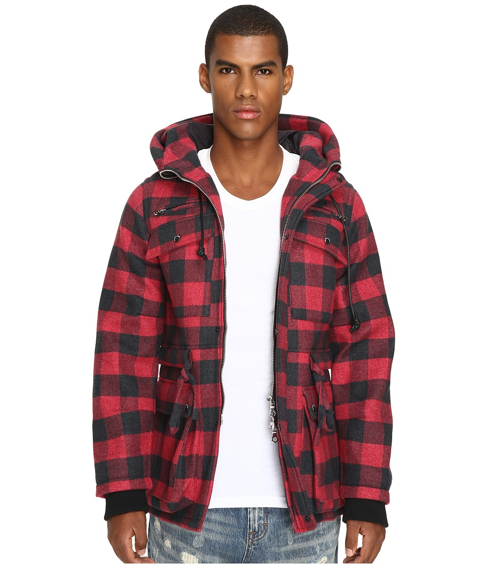 Mostly Heard Rarely Seen - Plaid Field Coat (Red Plaid) Men's Coat