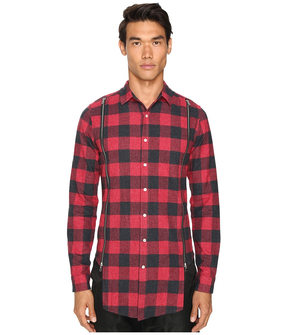 Mostly Heard Rarely Seen - Zipper Shirt (Red Plaid) Men's Clothing