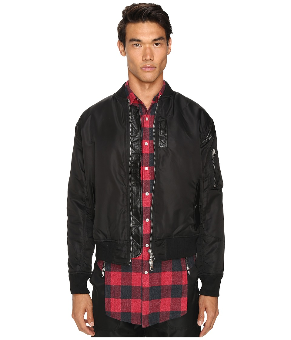Mostly Heard Rarely Seen - Nylon Parachute Bomber Jacket (Black) Men's Coat