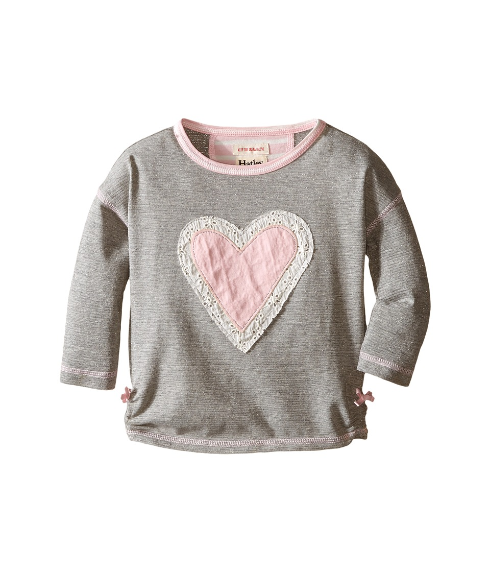 Hatley Kids - Metallic Hearts Graphic Tee (Toddler/Little Kids/Big Kids) (Grey) Girl's T Shirt