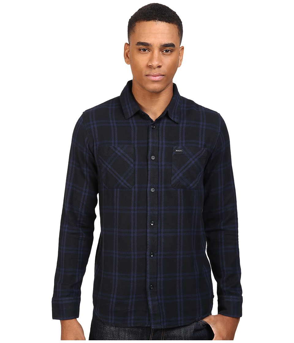 RVCA - Payne II Long Sleeve (Black) Men's Clothing