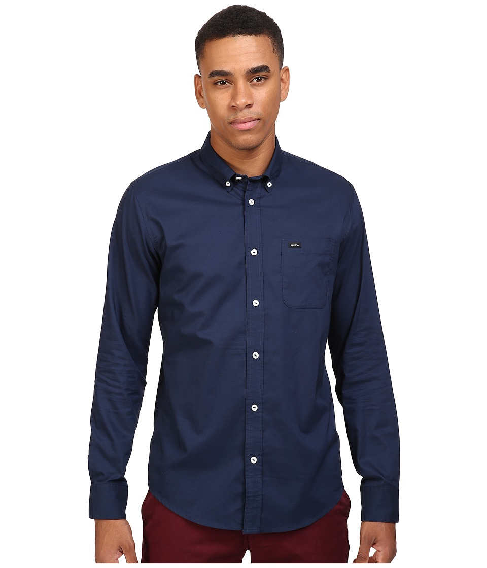 RVCA - That'll Do Oxford L/S (Federal Blue) Men's Long Sleeve Button Up
