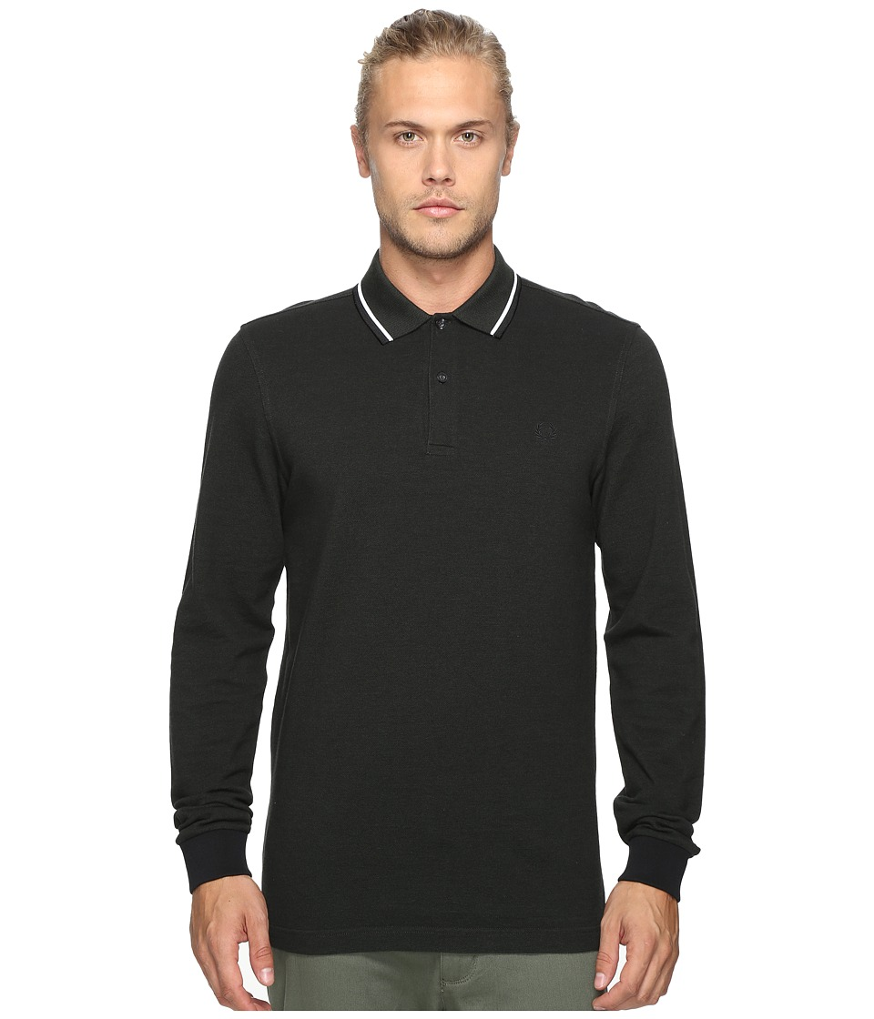 Fred Perry - Long Sleeve Twin Tipped Shirt (Hunting Black/Green Oxford/White/Black) Men's Clothing