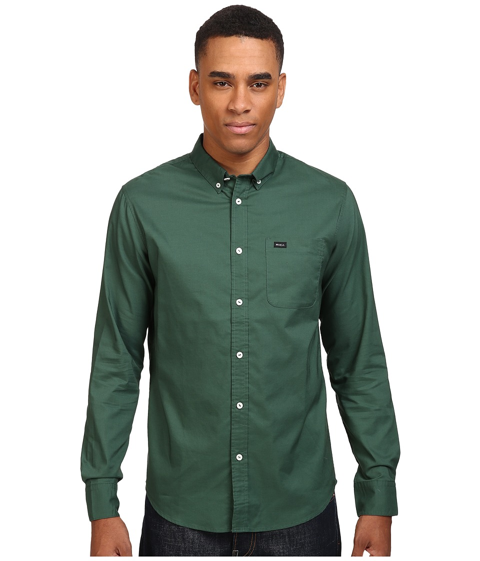 RVCA - That'll Do Oxford L/S (Sequoia Green) Men's Long Sleeve Button Up