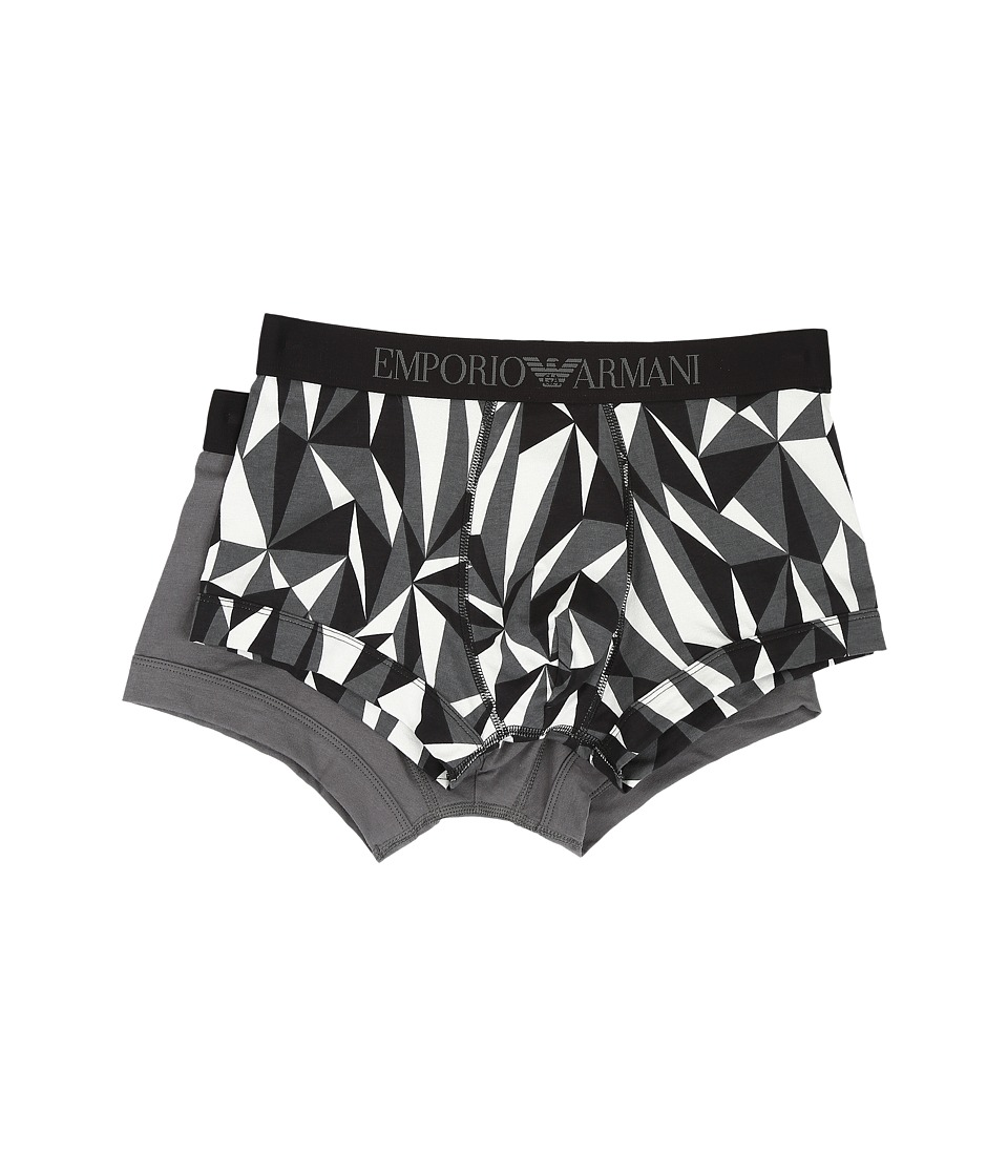 Emporio Armani - 2-Pack Stretch Cotton Trunk (Grey Triangles) Men's Underwear