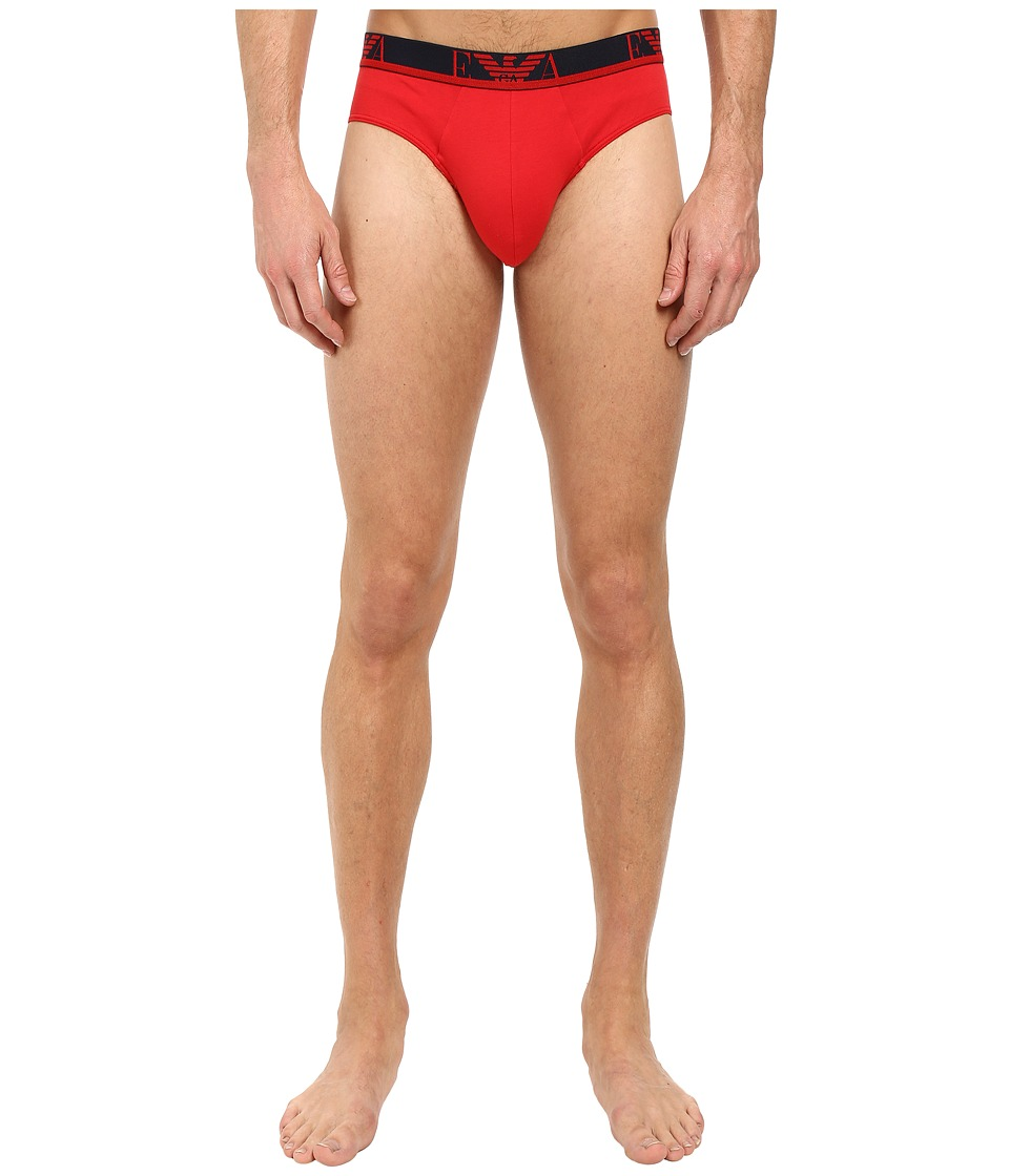 Emporio Armani - 2-Pack Colored Stretch Cotton Brief (Red/Marine) Men's Underwear