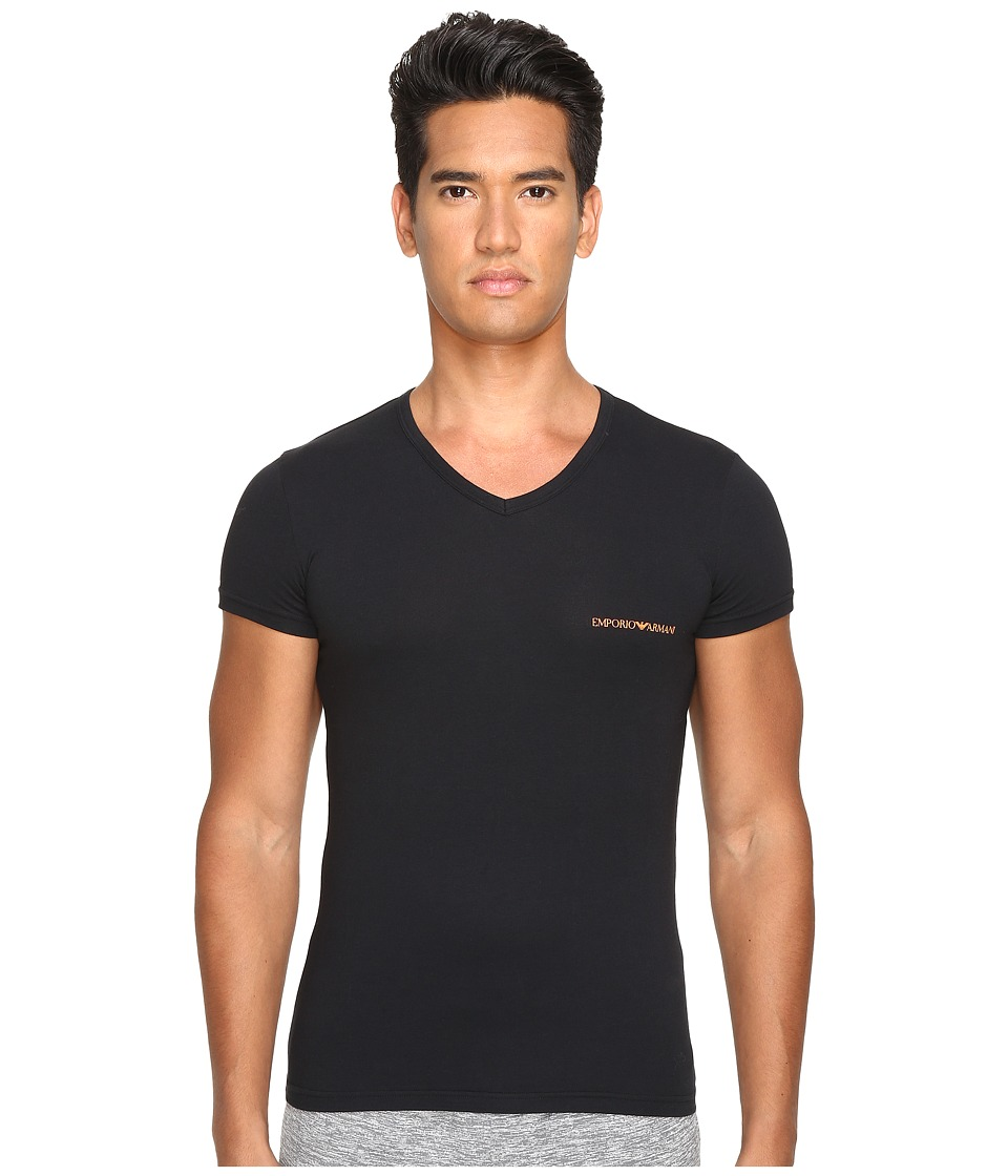 Emporio Armani - Stretch Cotton Color Multipack V-Neck (Black) Men's T Shirt