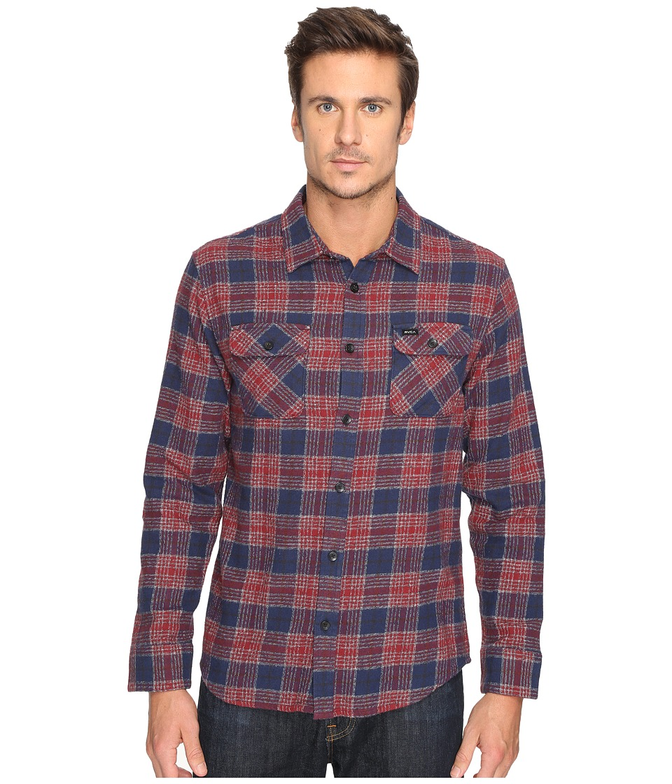 RVCA - Lowland Long Sleeve (Rosewood) Men's Clothing