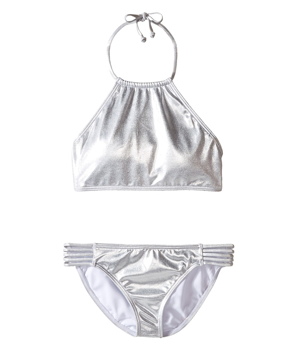 Billabong Kids - Sol Searcher High Neck Set (Little Kids/Big Kids) (Metallic Silver) Girl's Swimwear Sets