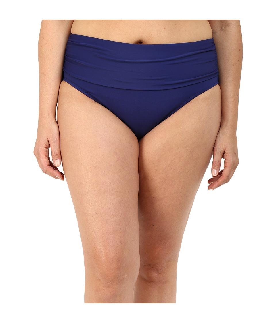 Bleu Rod Beattie - Plus Size Sea It Through Midster Pant Bottoms (Indigo) Women's Swimwear