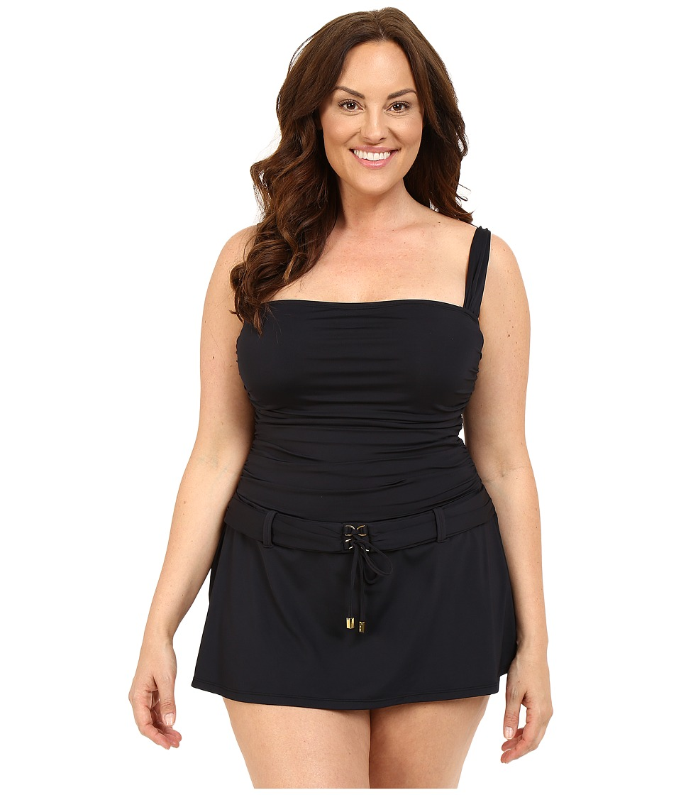 Bleu Rod Beattie - Plus Size Gilt Trip Skirting Floating One-Piece (Black) Women's Swimwear