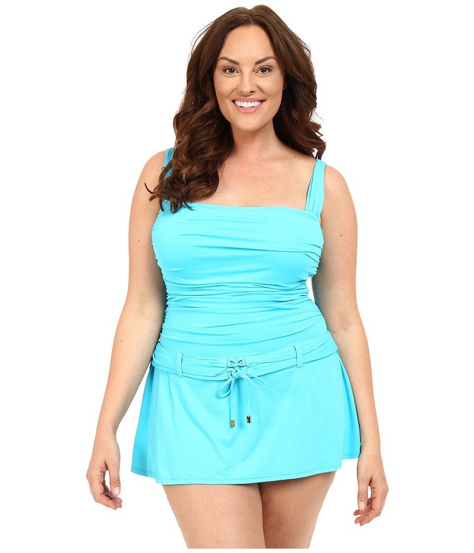 Bleu Rod Beattie - Plus Size Gilt Trip Skirting Floating One-Piece (Island Blue) Women's Swimwear