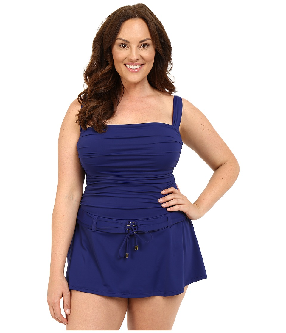 Bleu Rod Beattie - Plus Size Gilt Trip Skirting Floating One-Piece (Indigo) Women's Swimwear
