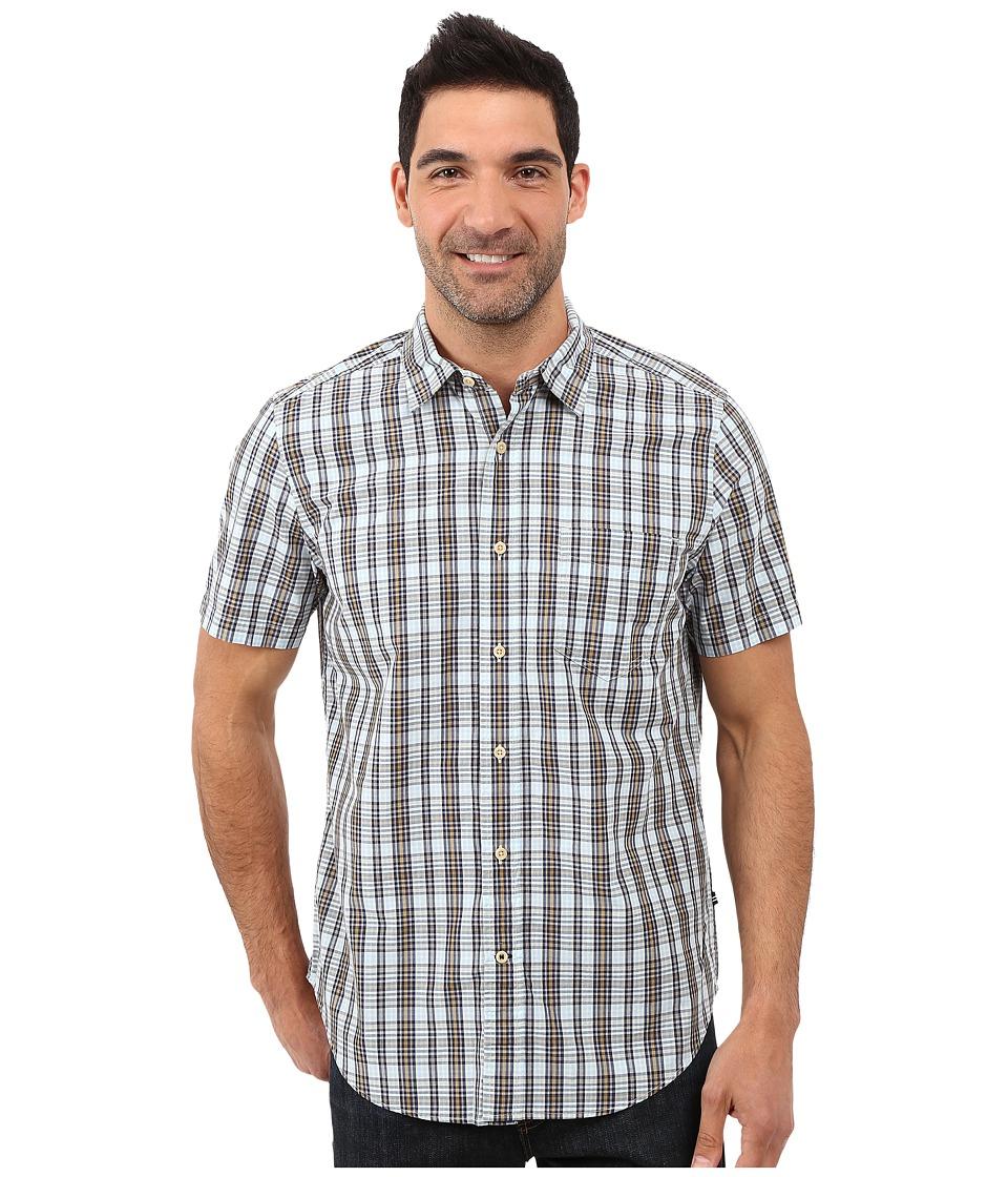 Nautica - Short Sleeve Medium Plaid Shirt w/ Pocket (Cool Breeze) Men's Short Sleeve Button Up