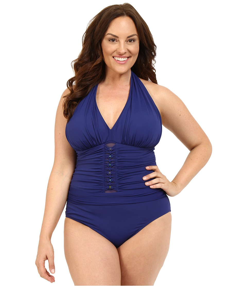 Bleu Rod Beattie - Plus Size Jet Set Go Plunge Halter One-Piece (Indigo) Women's Swimwear