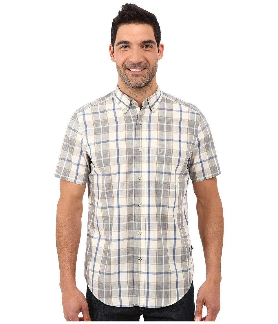 Nautica - Short Sleeve Large Plaid Shirt w/ Pocket (Orange Sherbert) Men's Short Sleeve Button Up