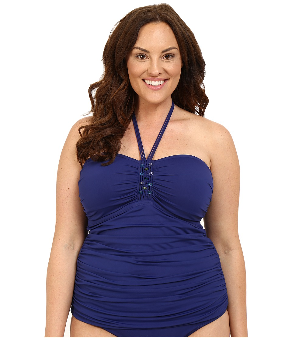 Bleu Rod Beattie - Plus Size Jet Set Go Bandeaukini (Indigo) Women's Swimwear
