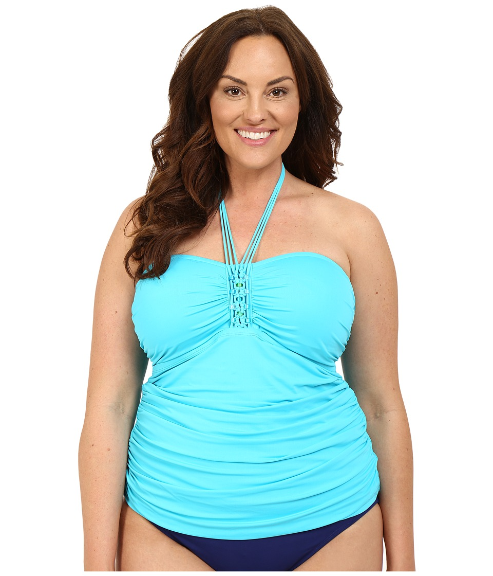 Bleu Rod Beattie - Plus Size Jet Set Go Bandeaukini (Island Blue) Women's Swimwear