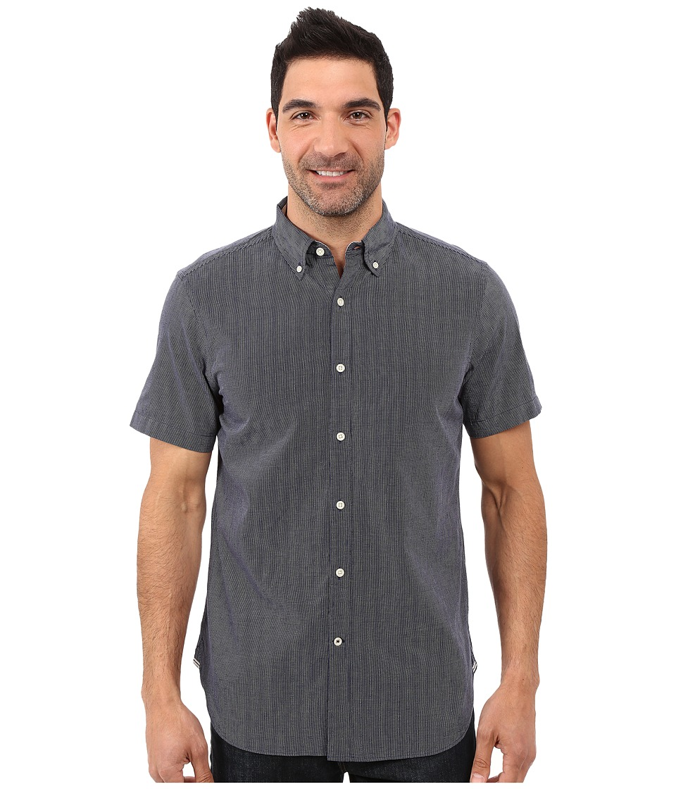 Nautica - Short Sleeve Striped Dobby Shirt w/ Pocket (Peacoat) Men's Short Sleeve Button Up