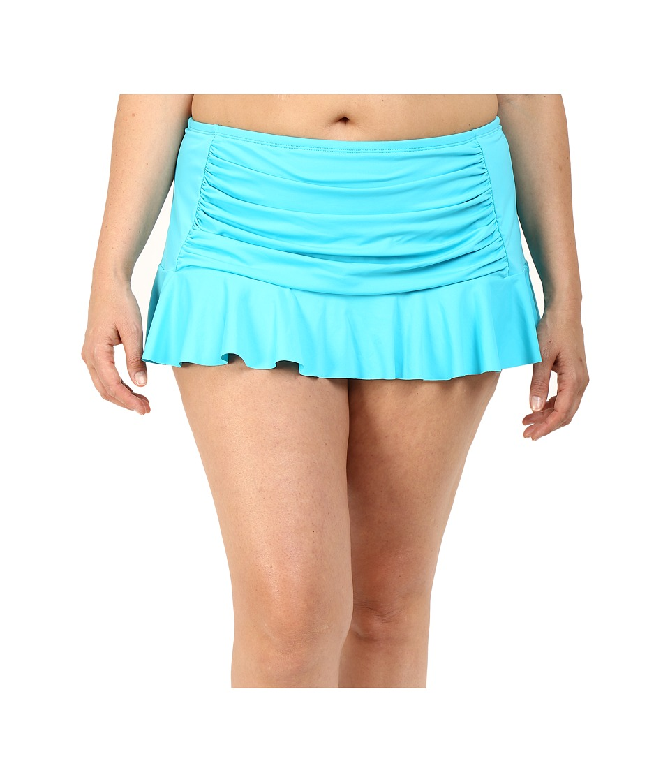 Bleu Rod Beattie - Plus Size Jet Set Go Retro Skirted Hipster Bottoms (Island Blue) Women's Swimwear