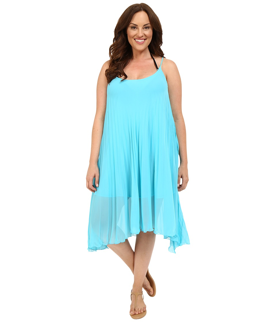 Bleu Rod Beattie - Plus Size Over the Edge A-Line Pleated Dress Cover-Up (Island Blue) Women's Swimwear