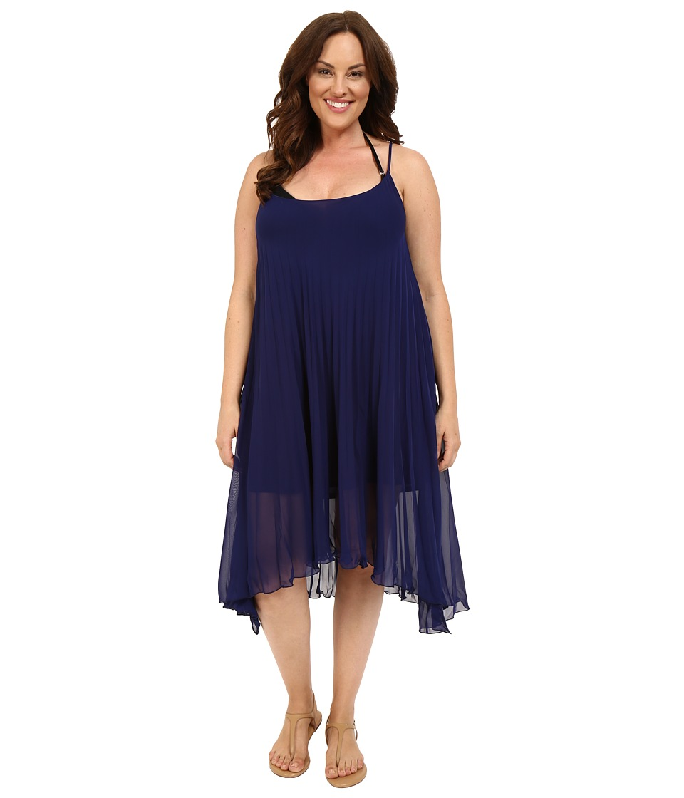 Bleu Rod Beattie - Plus Size Over the Edge A-Line Pleated Dress Cover-Up (Indigo) Women's Swimwear