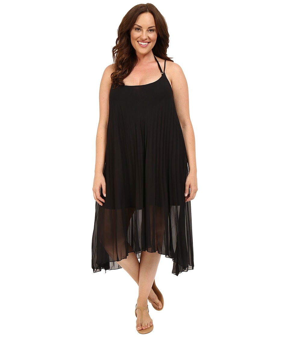 Bleu Rod Beattie - Plus Size Over the Edge A-Line Pleated Dress Cover-Up (Black) Women's Swimwear