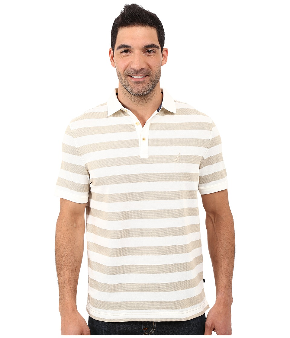 Nautica - Short Sleeve Strip Voyager Deck Polo Shirt (Sandcove) Men's Short Sleeve Knit