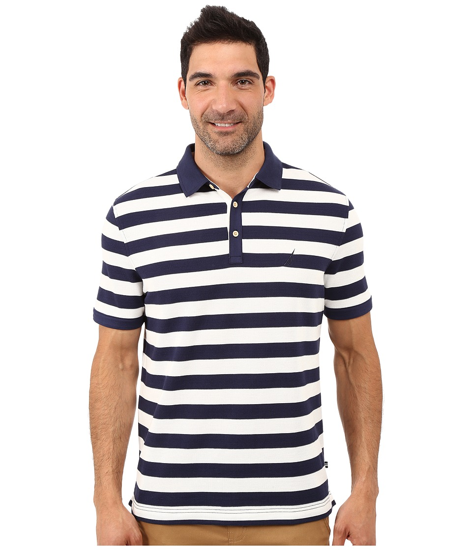 Nautica - Short Sleeve Strip Voyager Deck Polo Shirt (Peacoat) Men's Short Sleeve Knit