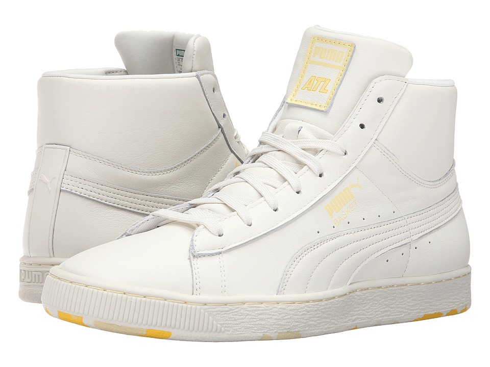 PUMA - Basket Mid PC (Marshmallow/Mellow Yellow) Men's Shoes