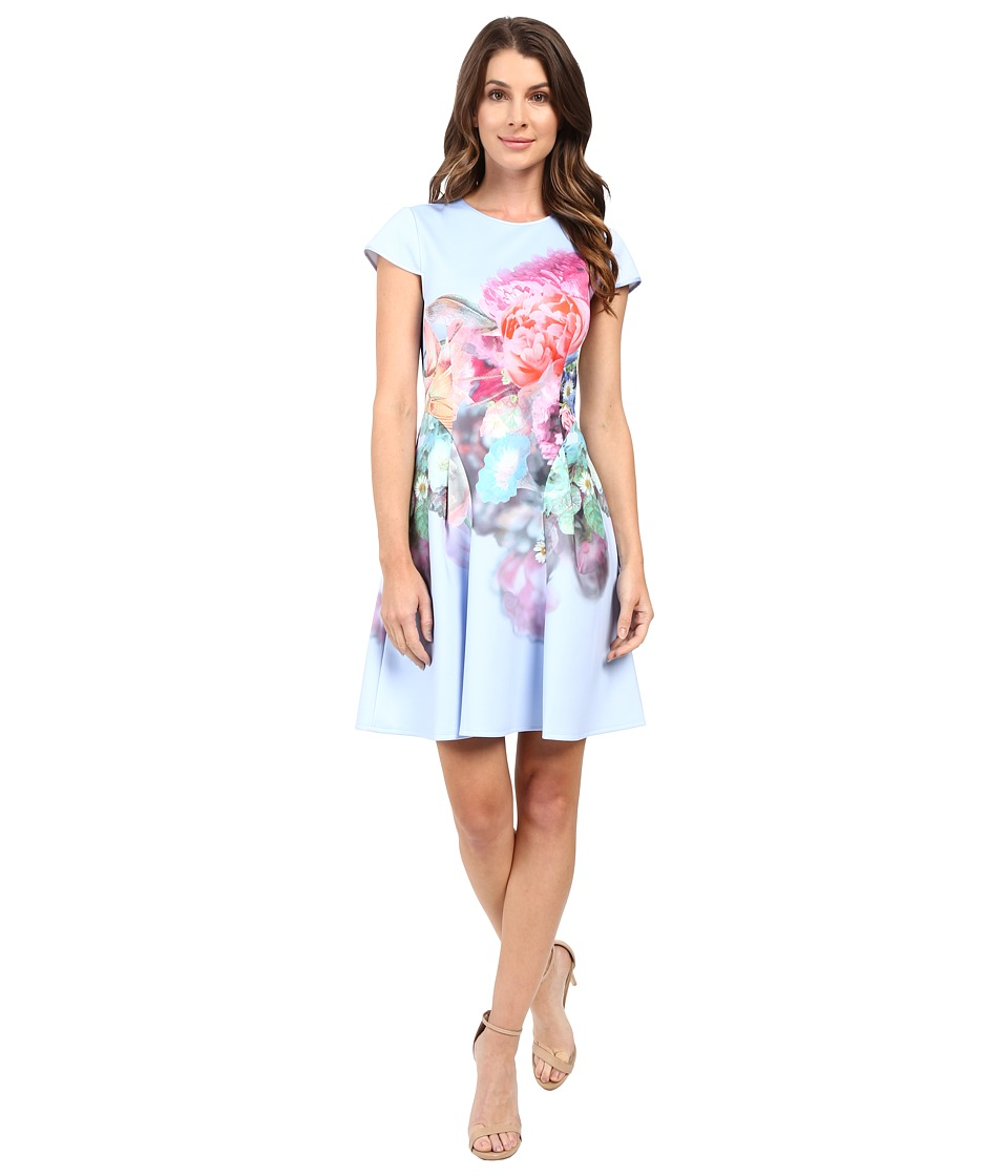 Ted Baker - Bowkay Focus Bouquet Neoprene Skater Dress (Pale Blue) Women's Dress