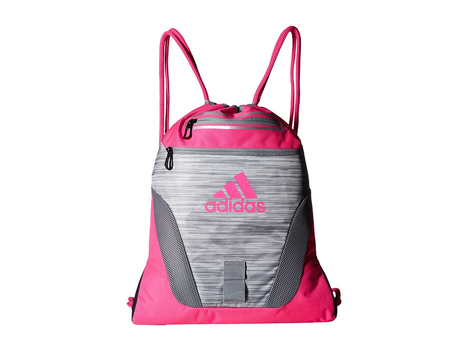 adidas - Rumble Sackpack (Clear Onix Space Dye/Shock Pink) Bags