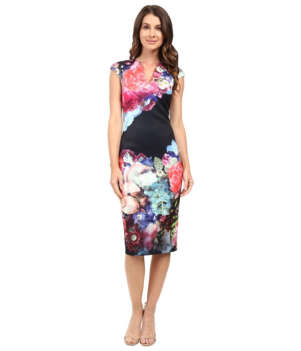 Ted Baker - Brynee Focus Bouquet Neoprene Dress (Dark Blue) Women's Dress