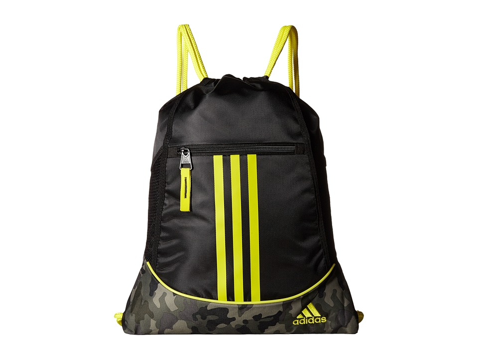 adidas - Alliance II Sackpack (Black/Cab Camo/Shock Yellow) Bags