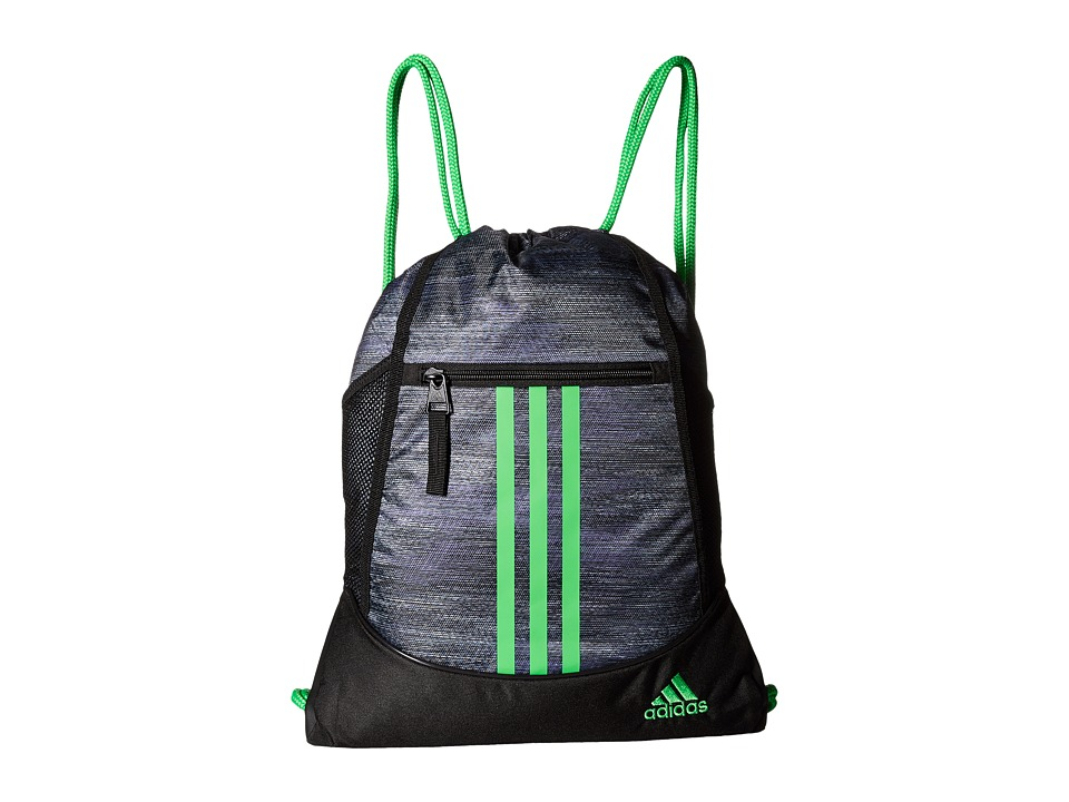 adidas - Alliance II Sackpack (Macro Heather Black/Shock Lime) Bags