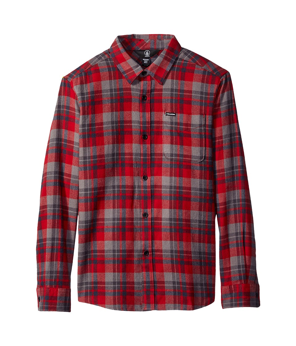 Volcom Kids - Hewitt Flannel Long Sleeve Shirt (Big Kids) (Blood Red) Boy's Long Sleeve Button Up