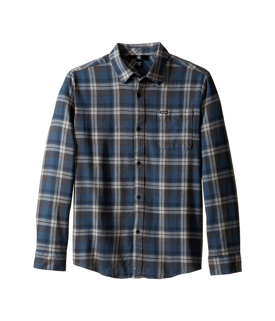 Volcom Kids - Hewitt Flannel Long Sleeve Shirt (Big Kids) (Navy) Boy's Long Sleeve Button Up