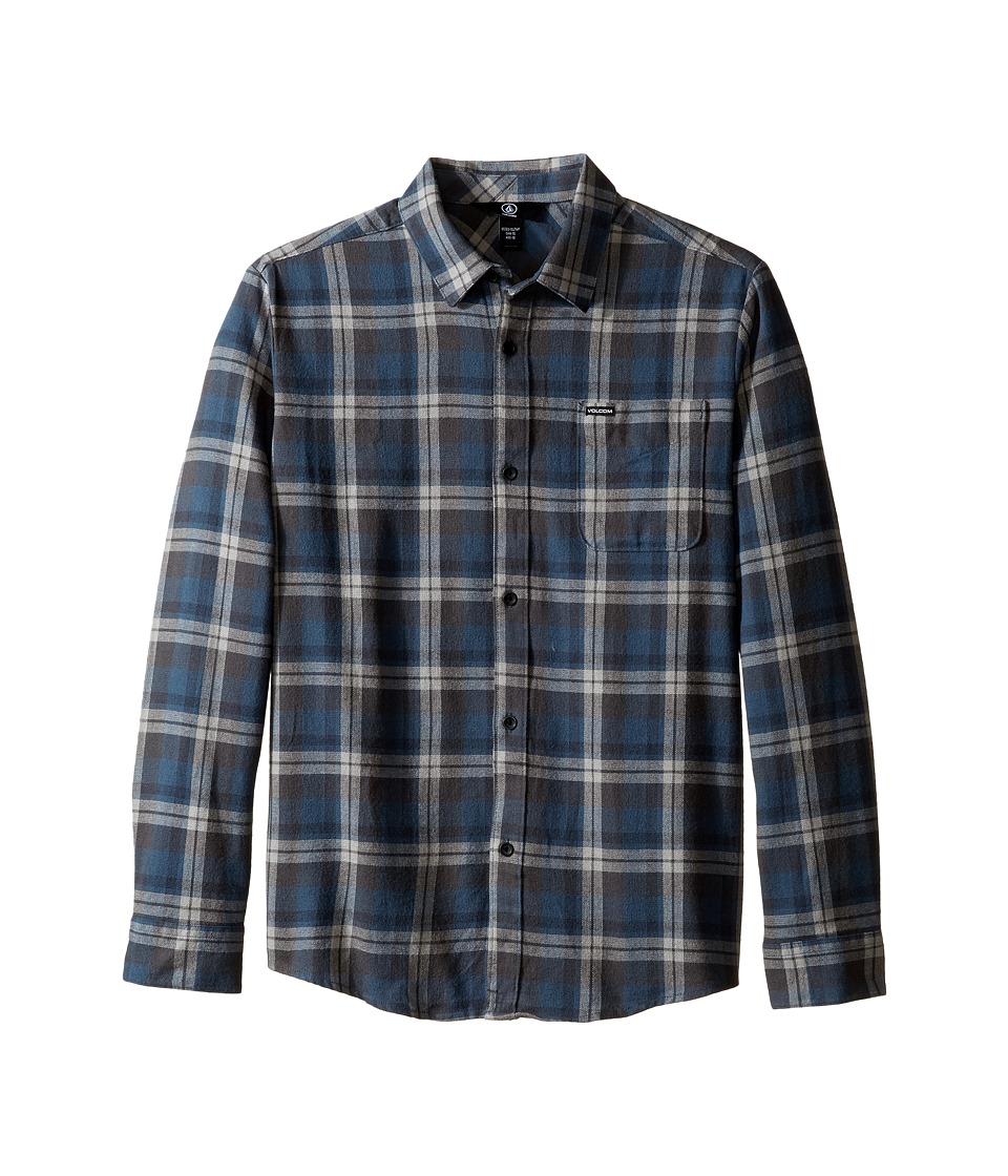Volcom Kids - Hewitt Flannel Long Sleeve Shirt (Big Kids) (Navy) Boy's Long Sleeve Button Up