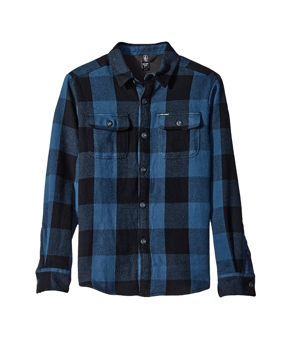 Volcom Kids - Enders Flannel Long Sleeve Shirt (Big Kids) (Air Force Blue) Boy's Long Sleeve Button Up