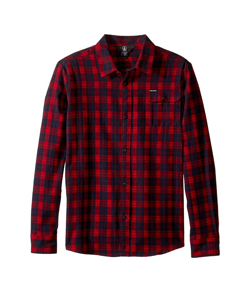 Volcom Kids - Fulton Long Sleeve Shirt (Big Kids) (Blood Red) Boy's Long Sleeve Button Up