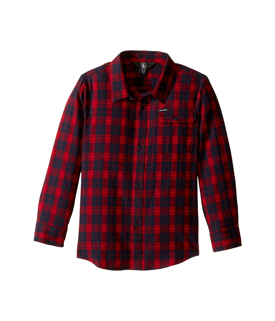 Volcom Kids - Fulton Flannel Long Sleeve Shirt (Toddler/Little Kids) (Blood Red) Boy's Long Sleeve Button Up