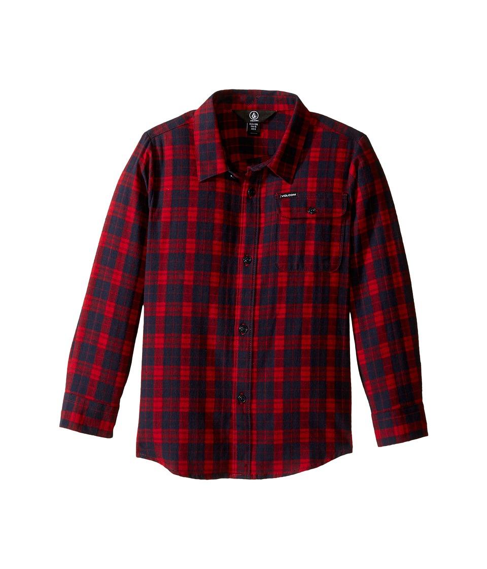 Volcom Kids - Fulton Flannel Long Sleeve Shirt (Toddler/Little Kids) (Blood Red) Boy's Long Sleeve Button Up