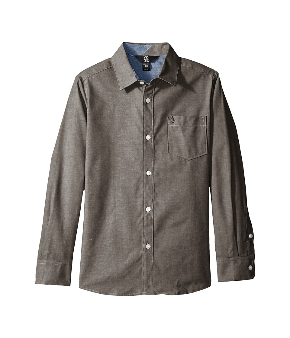 Volcom Kids - Everett Oxford Long Sleeve Shirt (Big Kids) (Black) Boy's Long Sleeve Button Up