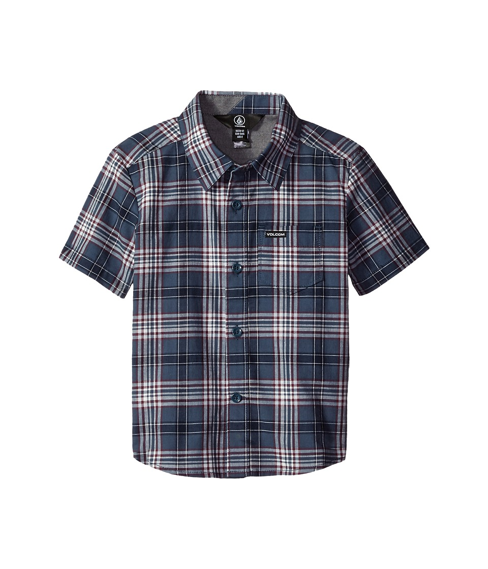 Volcom Kids - Kane Short Sleeve Shirt (Toddler/Little Kids) (Blue Fog) Boy's Short Sleeve Button Up