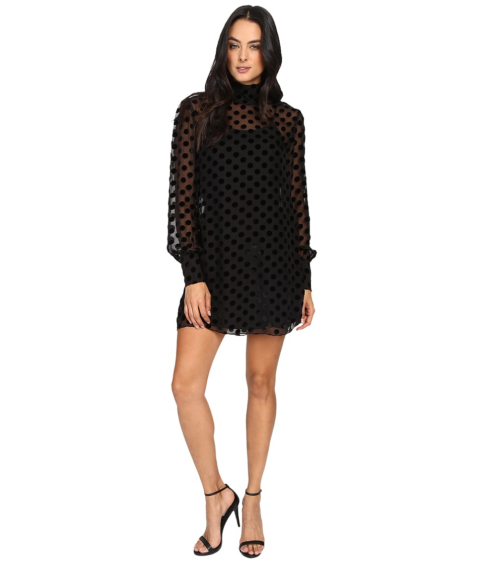 Stone Cold Fox Shimo Dress (Black Velvet Dot) Women
