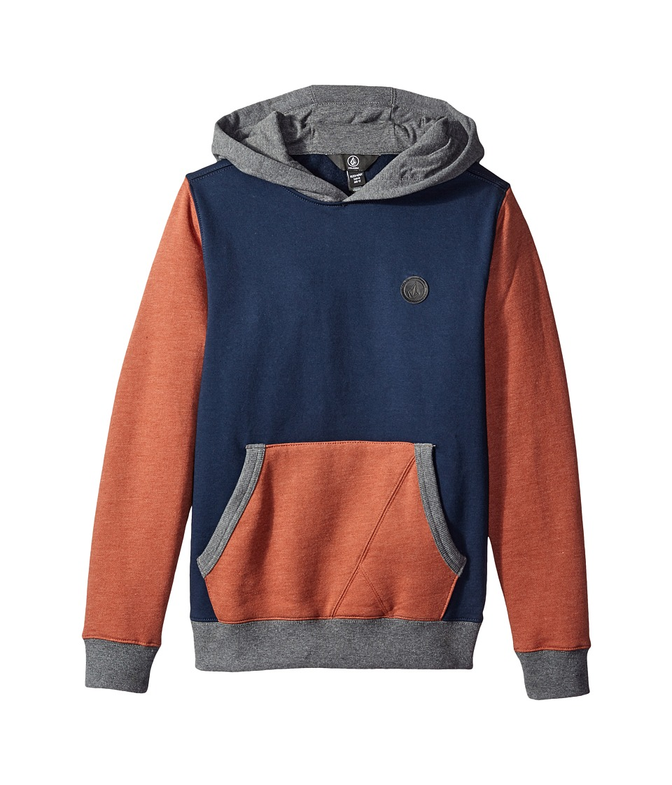 Volcom Kids - Single Stone Color Block Pullover (Big Kids) (Navy) Boy's Long Sleeve Pullover
