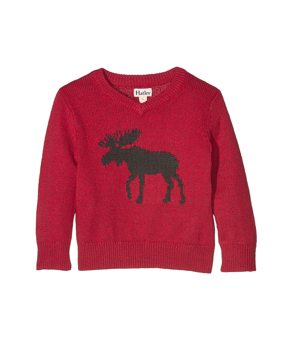 Hatley Kids - Moose V-Neck Sweater with Elbow Patches (Toddler/Little Kids/Big Kids) (Red) Boy's Sweater