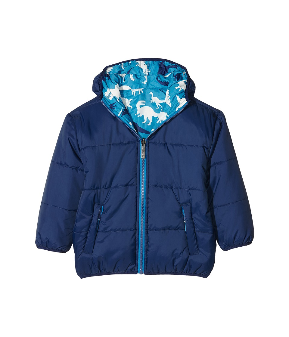 Hatley Kids - Silhouette Dinos Reversible Winter Puffer (Toddler/Little Kids/Big Kids) (Blue) Boy's Coat