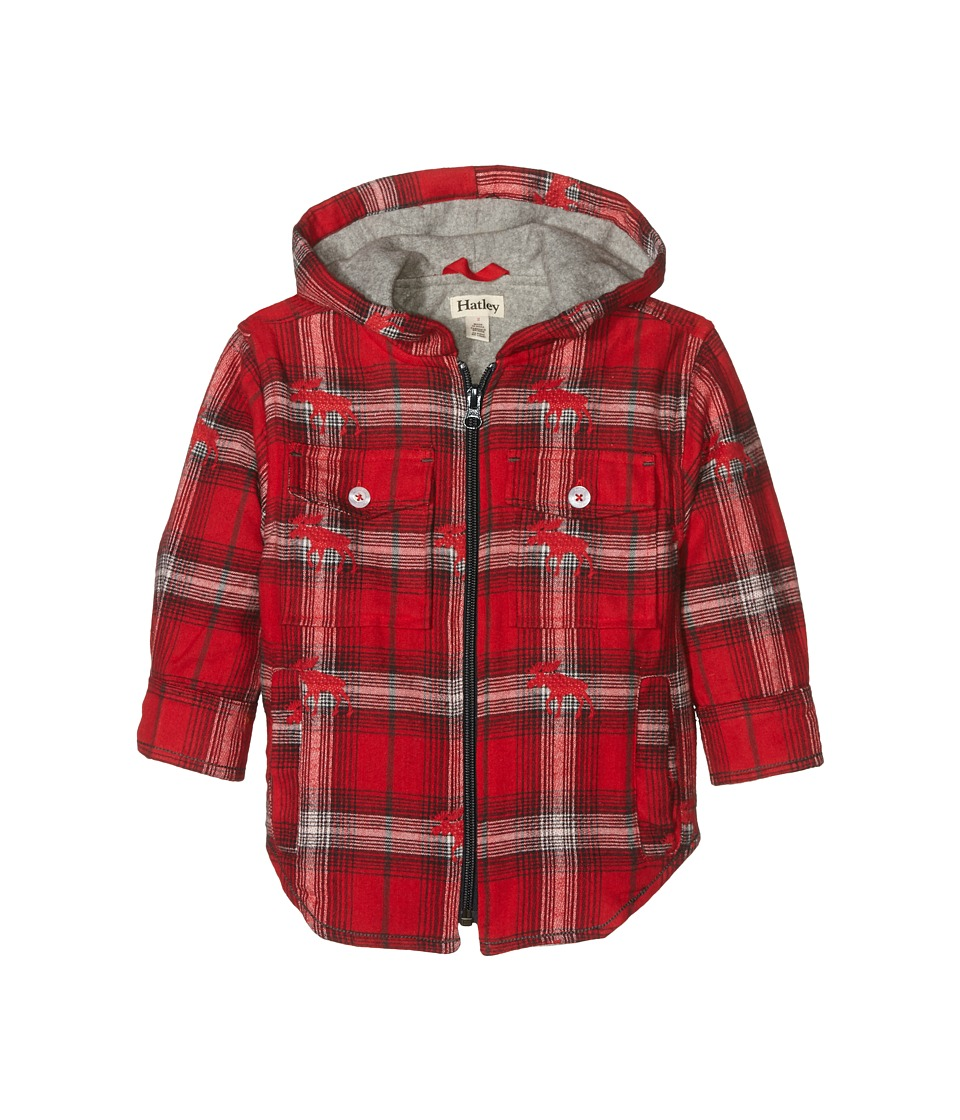 Hatley Kids - Plaid Flannel Hooded Jacket (Toddler/Little Kids/Big Kids) (Red) Boy's Coat