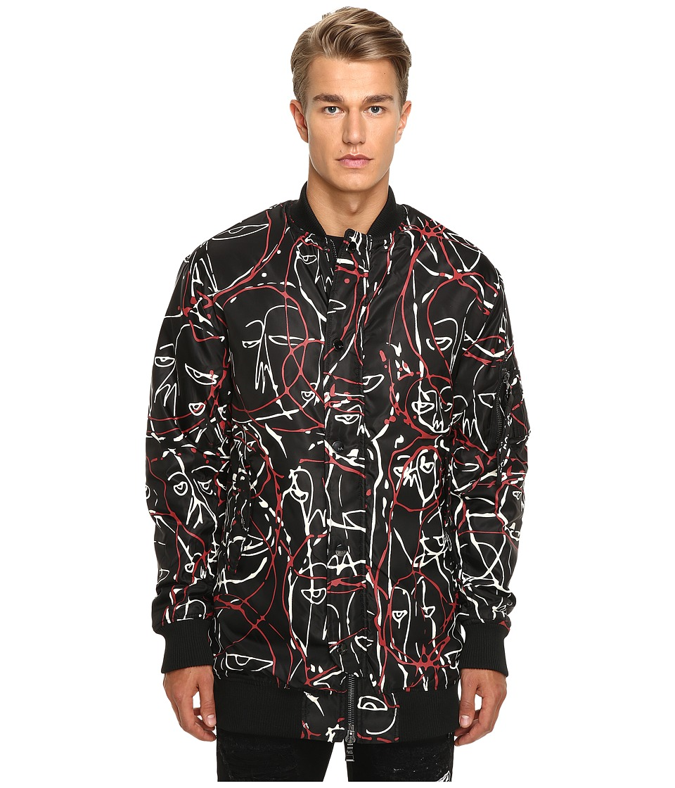 Haculla - One of a Kind Bloodwork Drop Sleeve Bomber (Black) Men's Coat